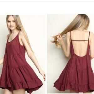 Brandy Melville Maroon Babydoll Slip Mini Dress